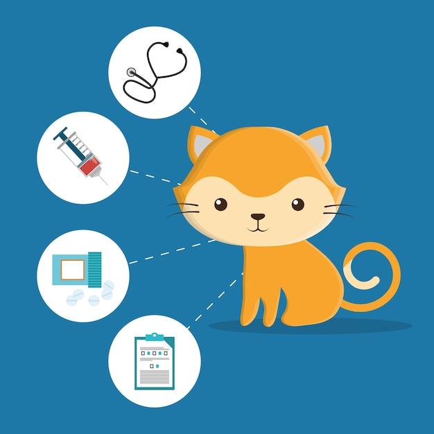 Icônes de service de centre de soins pour animaux de compagnie Vecteur Premium