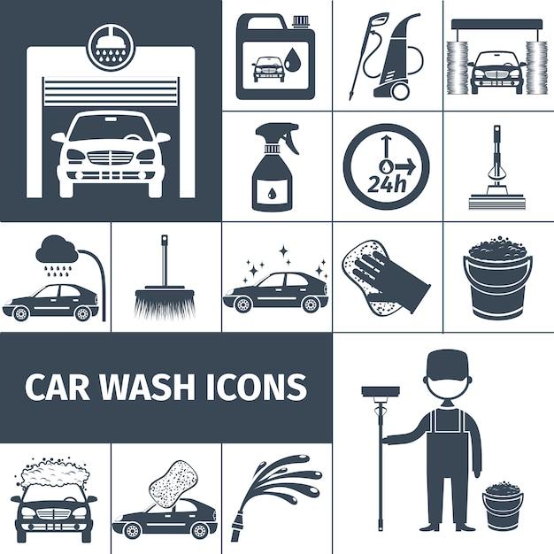 Icônes de service de lavage de voiture mis en noir Vecteur Premium