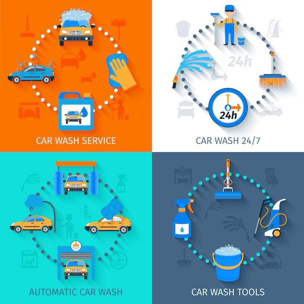 Icônes de service de lavage de voiture à plat Vecteur Premium