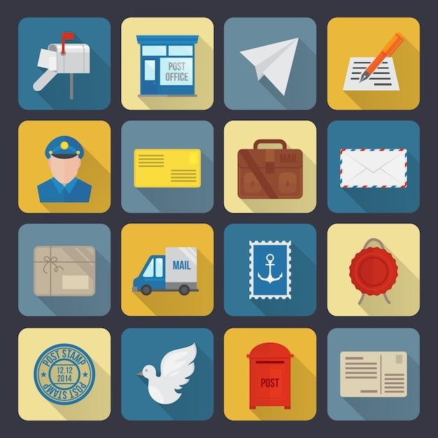 Icônes De Service Postal Vecteur gratuit
