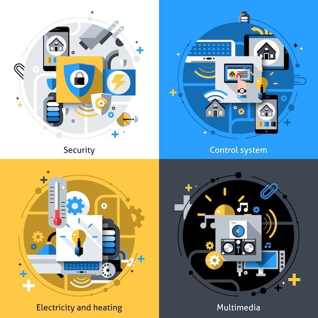 Icônes smart house Vecteur gratuit