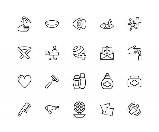 Icônes de soins personnels et personnels. ensemble de vingt icônes de ligne. assurance, coiffure, vue Vecteur Premium