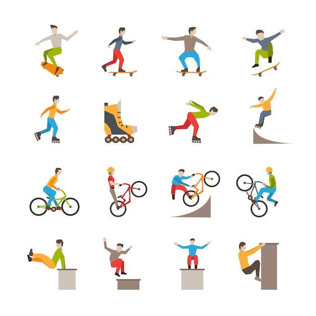 Icônes de sport urbain de vecteur avec des personnes Vecteur gratuit