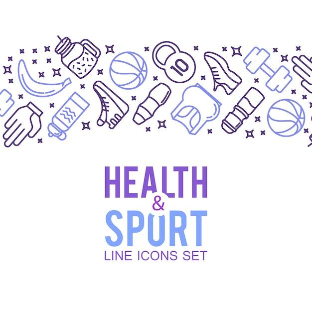 Icônes sportives. concept sportif, fond icônes jeux de sport Vecteur gratuit
