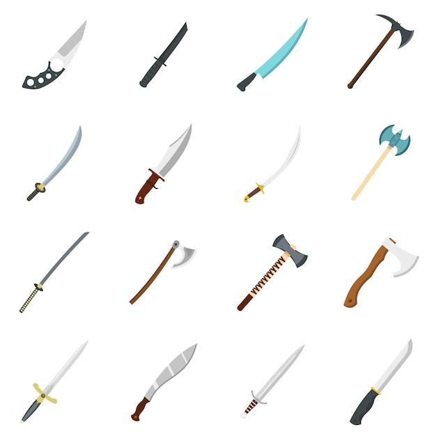 Icônes de symboles d'armes en acier définies dans un style plat Vecteur Premium