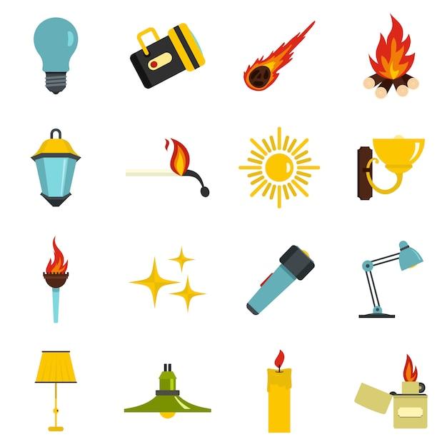 Icônes de symboles de source lumineuse définies dans un style plat Vecteur Premium