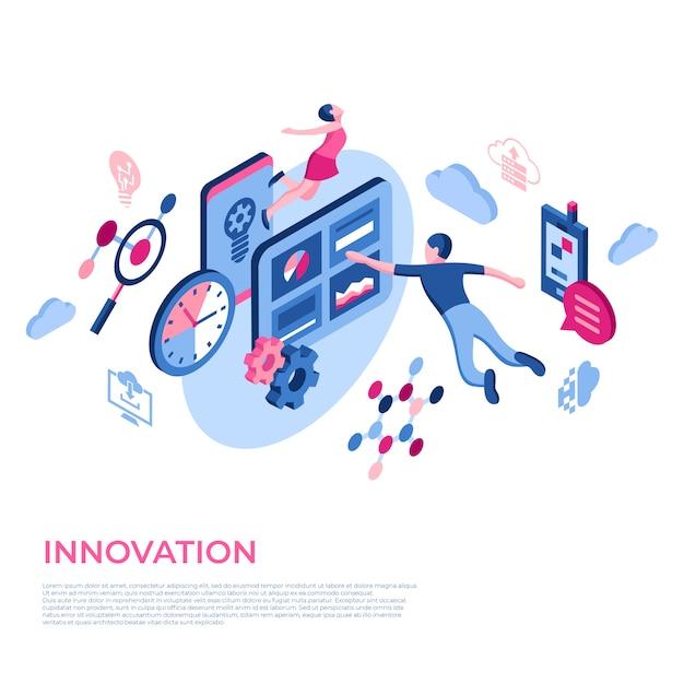 Icônes De Technologie D'innovation De Réalité Virtuelle Avec Des Personnes Vecteur Premium