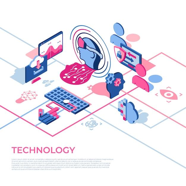 Icônes De Technologie De Réalité Virtuelle Avec Des Personnes Vecteur Premium