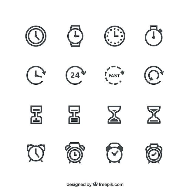 Icônes temps Vecteur gratuit