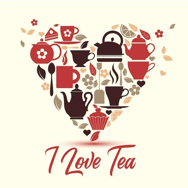 Icônes de thé dans le symbole du coeur. Vecteur Premium