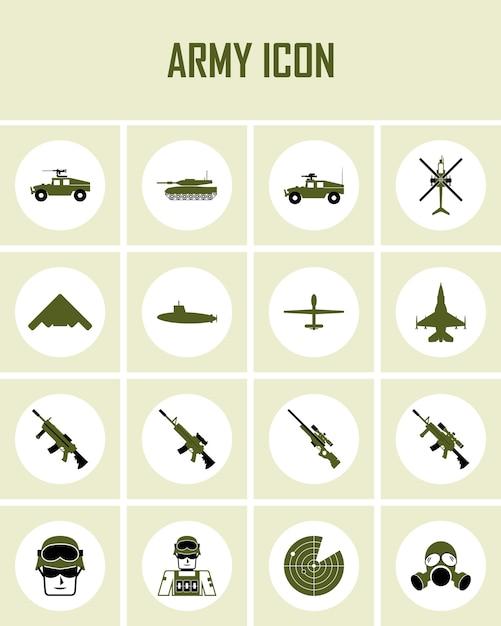 Icônes universelles de l'armée à utiliser pour l'interface utilisateur web et mobile Vecteur Premium