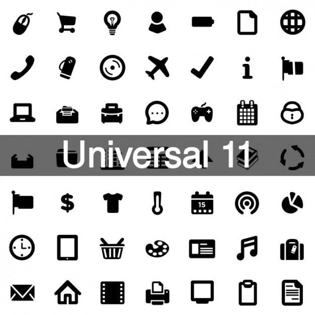Icônes universelles pack 11 Vecteur gratuit