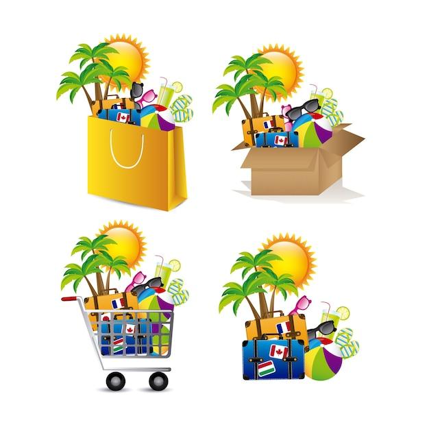 Icônes De Vacances Vecteur Premium