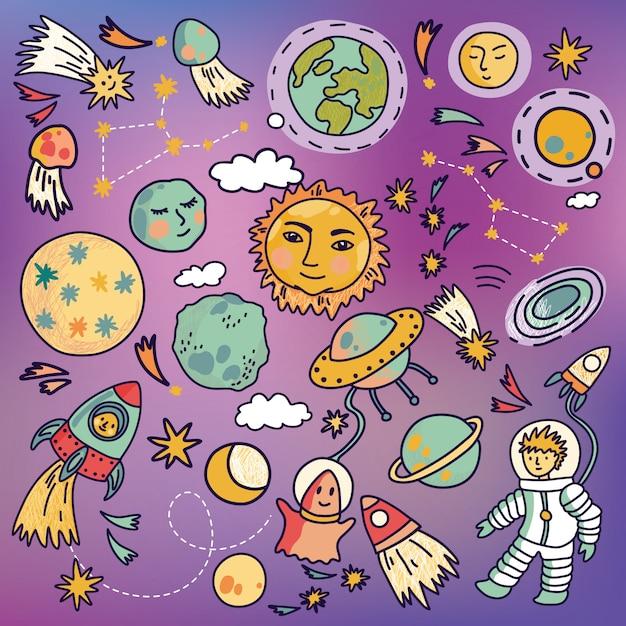 Icônes De Vaisseau Spatial De Dessin Animé Avec Des Planètes, Des Fusées, Des Astronautes Et Des étoiles. Illustration Vectorielle Dessinés à La Main. Vecteur Premium