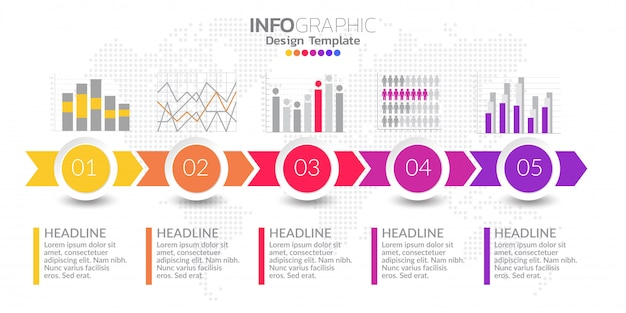 Icônes et vecteur de conception infographique timeline cinq étapes Vecteur Premium