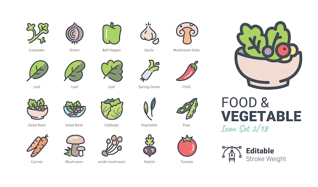 Icônes Vectorielles Aliments Et Légumes Vecteur Premium