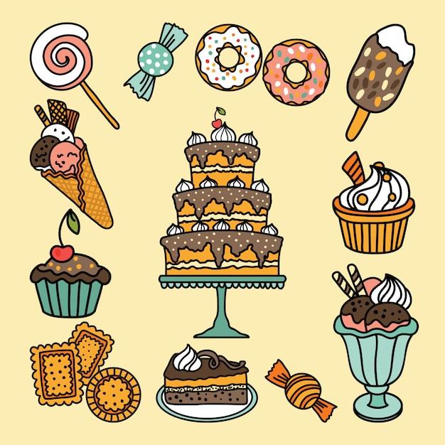 Icônes vectorielles avec des bonbons et des bonbons Vecteur Premium
