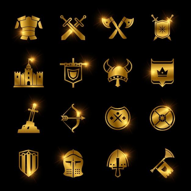 Icônes vectorielles bouclier et épée de guerriers médiévaux Vecteur Premium