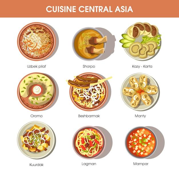 Icônes vectorielles de cuisine alimentaire asie centrale pour le menu du restaurant Vecteur Premium