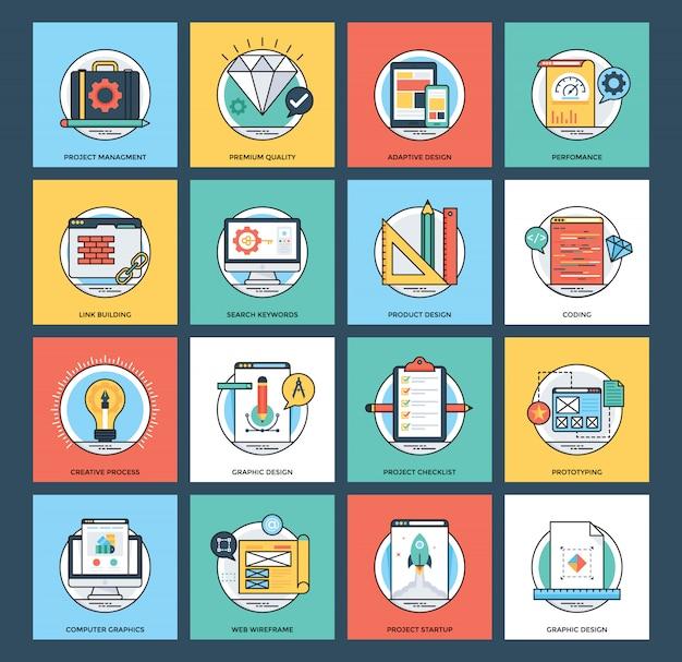 Icônes vectorielles de développement web et mobile Vecteur Premium