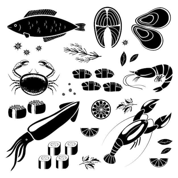 Icônes Vectorielles De Fruits De Mer Silhouettes Noires Vecteur gratuit