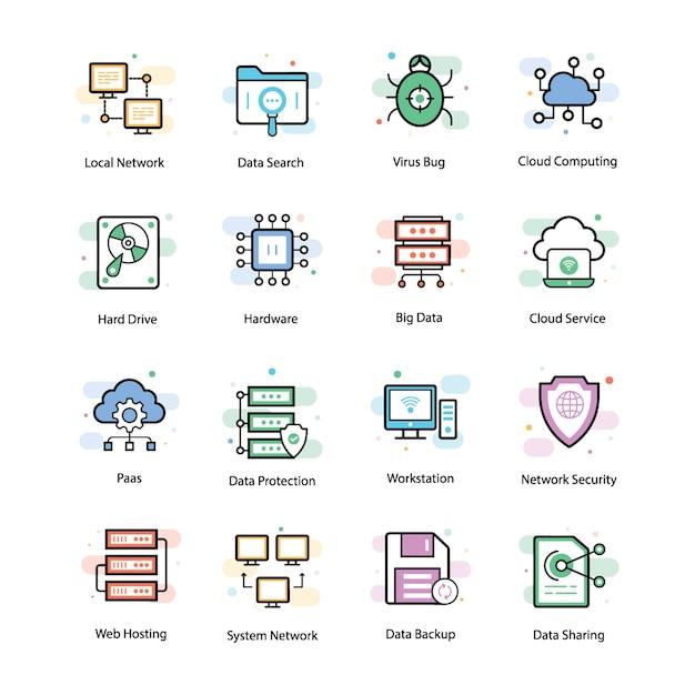 Icônes vectorielles d'hébergement web Vecteur Premium