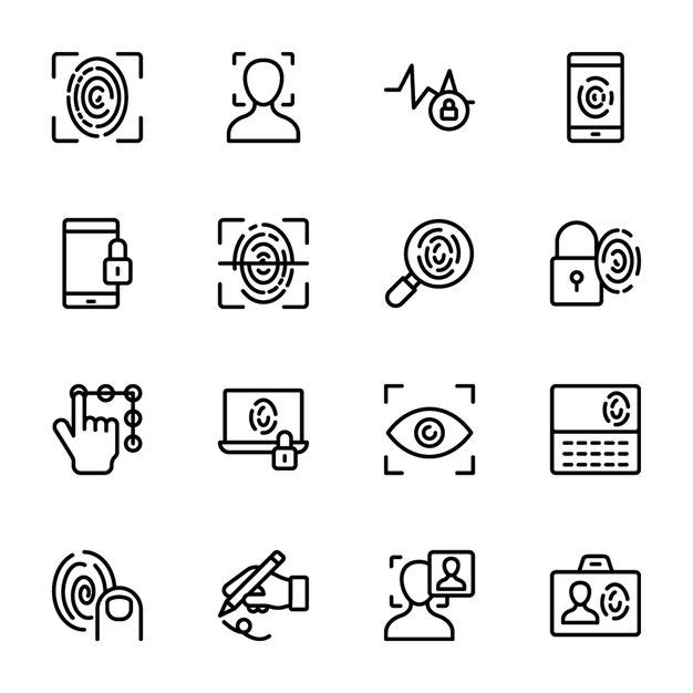 Icônes vectorielles ligne biométrique Vecteur Premium