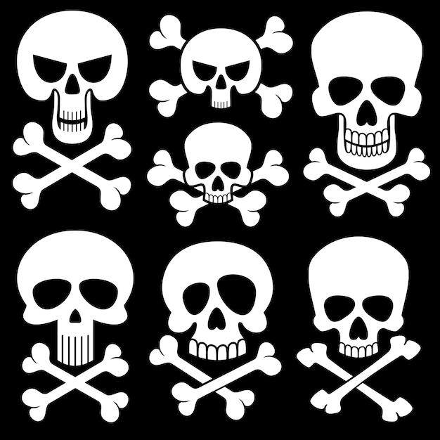 Icônes vectorielles pirate tête de mort Vecteur Premium