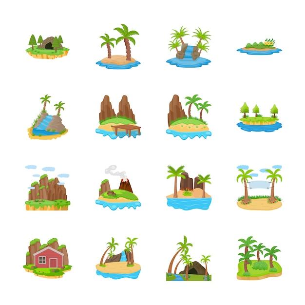Les Icônes Vectorielles Des Scènes De L'île Vecteur Premium