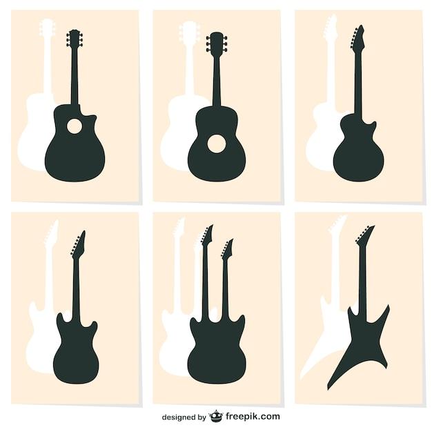 Icônes Vectorielles De Silhouette De Guitare Vecteur gratuit