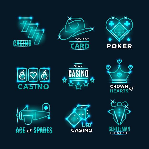 Icônes Vectorielles De Tournoi De Poker Néon Vintage Et Casino Vecteur Premium