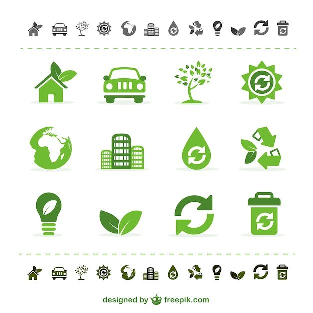 Icônes vectorielles vert écologie Vecteur gratuit