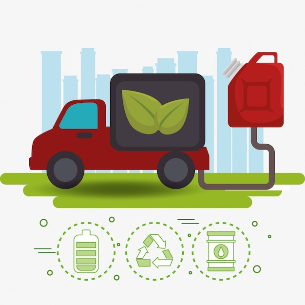 Icônes de véhicule voiture écologie Vecteur gratuit
