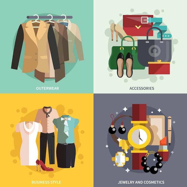 Icônes de vêtements plat Vecteur gratuit