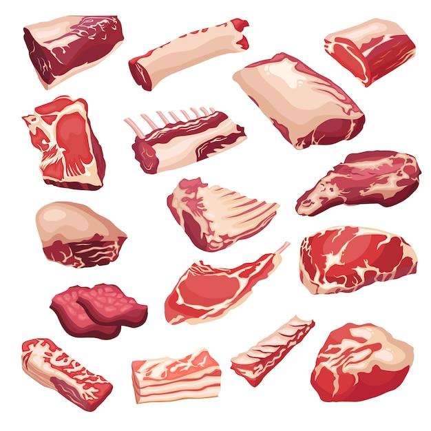 Icônes de viande fraîche dans le style plat. objets isoletad vectoriels. Vecteur Premium