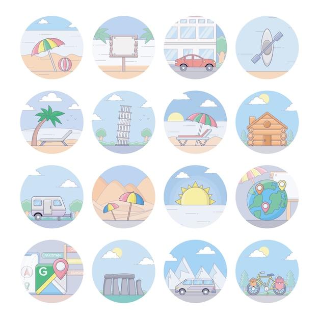 Icônes de voyage et de tourisme Vecteur Premium