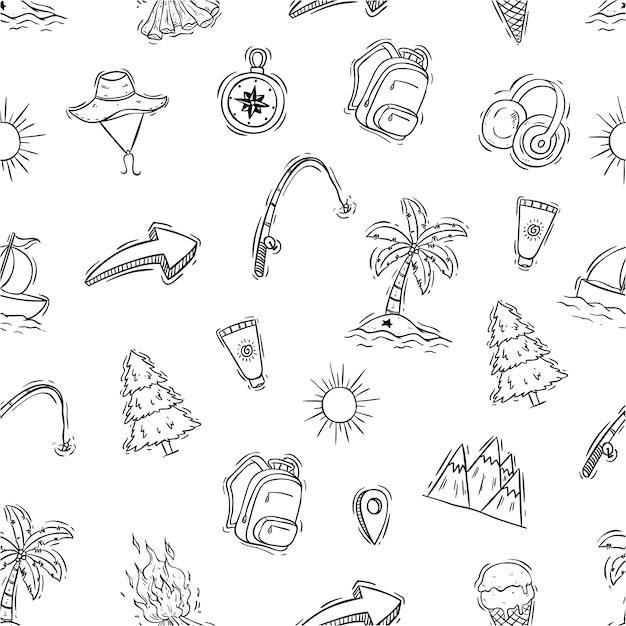 Icônes de voyages mignons dans le modèle sans couture avec style dessinés à la main ou doodle Vecteur Premium