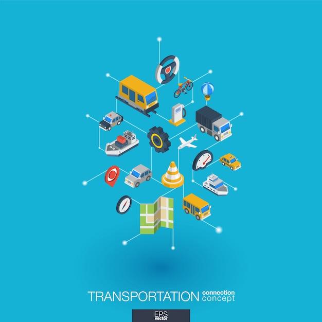 Icônes Web Intégrées De Transport. Concept D'interaction Isométrique De Réseau Numérique. Système Graphique Point Et Ligne Connecté. Abstrait Pour Le Trafic, Service De Navigation. Infographie Vecteur Premium