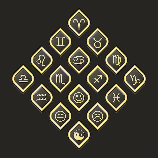 Icônes web vectorielles définies pour l'horoscope de l'astrologie ésotérique Vecteur Premium