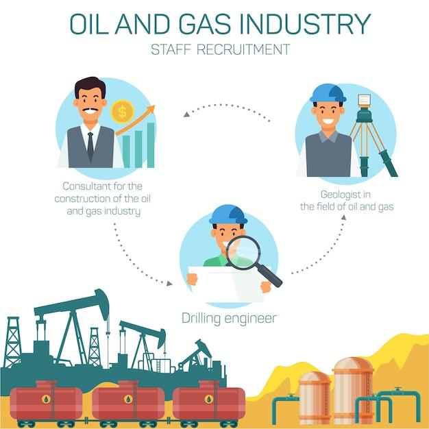 Icones withtype professions dans l'industrie du pétrole et du gaz Vecteur Premium