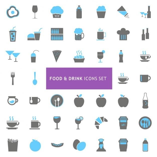 Icons set sur la nourriture et la boisson Vecteur gratuit