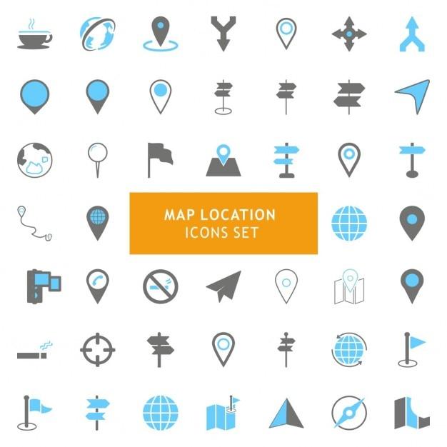 Icons set sur les cartes Vecteur gratuit