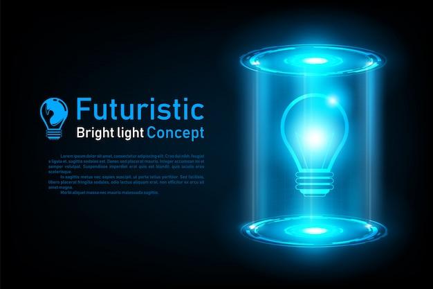 Idée abstraite futuriste ampoule hologramme Vecteur Premium