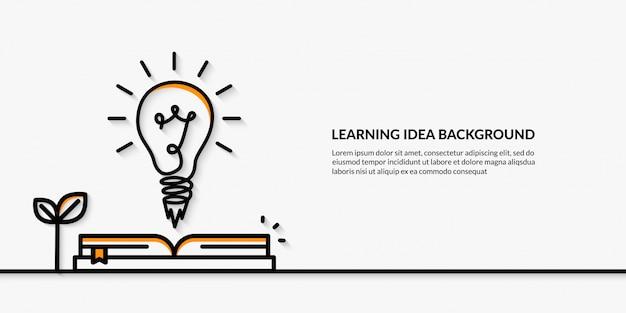 Idée d'apprentissage avec le lancement de la bannière d'ampoule à l'école Vecteur Premium