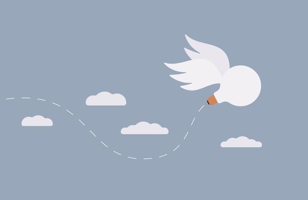 Idée, le bulbe avec des ailes s'envole dans le ciel Vecteur Premium