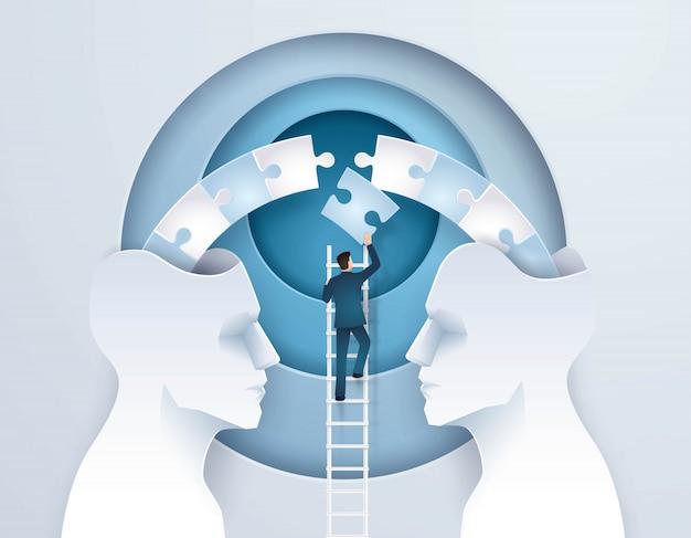 Idée business concept de brainstorming à travers deux têtes valent mieux qu'une Vecteur Premium