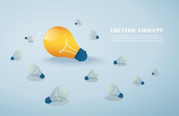 Idée Créative, Ampoules Vecteur Premium