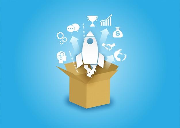 Idée créative de démarrage d'entreprise. Vecteur Premium