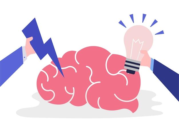 Idée créative et icône du cerveau pensant Vecteur gratuit