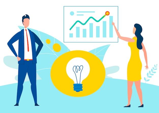 Idée de développement commercial plat Vecteur Premium